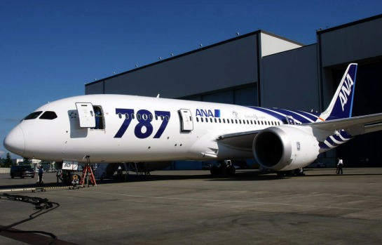 The first 787 Dreamliner to be delivered to launch customer All Nippon Airways, decked out with the blue and white ...