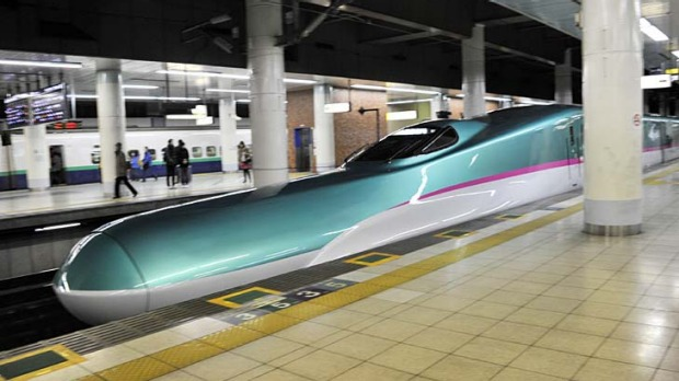 Japan's most recent bullet train, the 'Hayabusa' or Falcon travels at 300 kilometre per hour and boasts a luxury ...