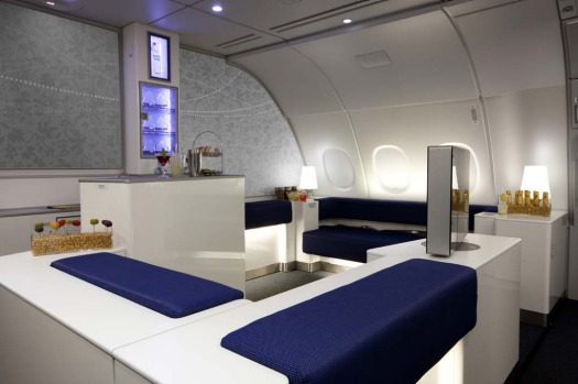 Mile-high pub ... Korean Air has unveiled the interiors for its Airbus A380 superjumbo, including a spacious cocktail ...