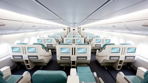 Korean Air's prestige (business) class seats on the A380.