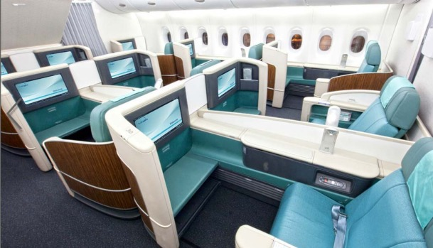 The Korean Air A380 features 12 first class (pictured) and 301 economy class seats on the first deck.