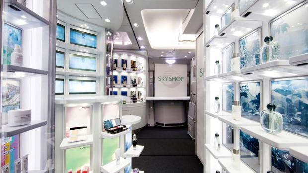 The airline says its duty free shop at the back of the plane, where passengers can browse actual items rather than be restricted to leafing through a brochure, is a world first.