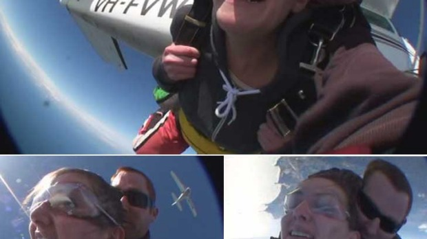 There she goes ... no signs of flappy face here as <i>smh.com.au</i> reporter Stephanie Gardiner overcomes her worst ...
