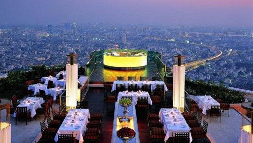 Sky high ... Sirocco is one of Bangkok's high (literally) class establishments.