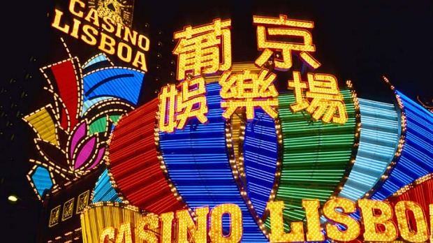 Sure bet ... the bright lights of Casino Lisboa, Macau.