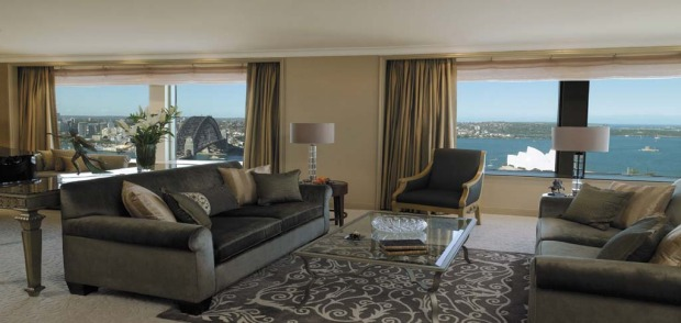 Royal suite, Shangri-La Hotel Sydney. The 242-square-metre one-bedroom suite has uninterrupted views of the Harbour ...