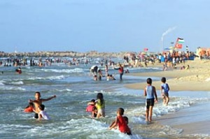 Jobs and training . . . Gaza's first five-star hotel is beside a Hamas training camp and overlooks the Mediterranean.