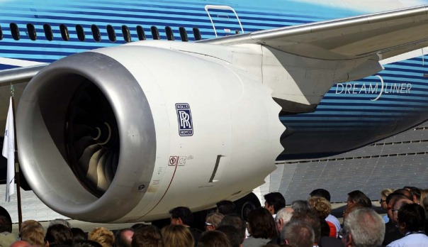 The Rolls-Royce engine of a 787 Dreamliner. US and European authorities finally approved the jet to fly on August 26.