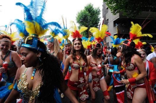 Dancers perform at the Notting Hill Carnival in London.