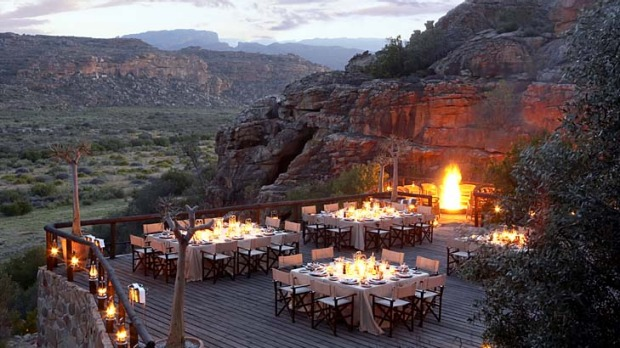 Tea time ... open-air dining at Bushmans Kloof, in the Cederberg mountains.