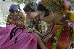 Rich tapestry ... a workshop of women embroidering textiles in Tashkent.