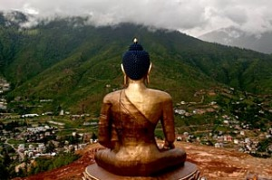 The giant Buddha Dordenma statue, still under-construction, overlooks the capital city of Thimphu in Bhutan.