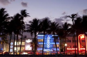 Miami fusion ... the neon skyline on Ocean Drive, South Beach.