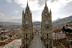 """Navel of the world"" ... the spires of the Basilica del Voto Nacional."
