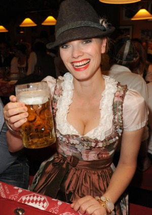 Model Franziska Knuppe attends the Oktoberfest beer festival at Hippodrom beer tent.