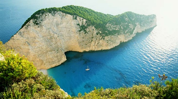 Picture postcard ... the tourist drawcard of Shipwreck Bay on the Ionian island of Zakynthos.