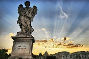 True devotion ... an angel stands sentry at St Peter's Basilica at the Vatican.