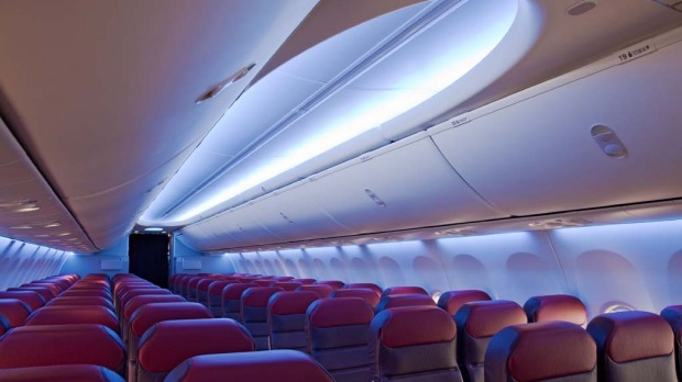 Boeing's new 737 'Sky' interiors offer a lighting scheme that creates the feeling of a blue sky overhead.