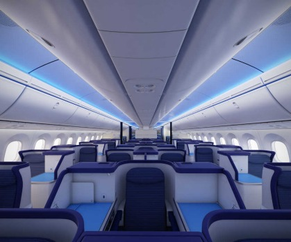 The interior of the first Boeing 787 Dreamliner delivered to launch customer All Nippon Airways.