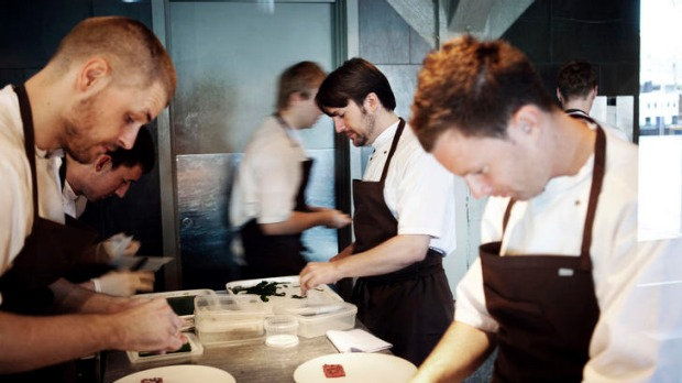 Taste sensations ... the Noma chefs work on lunch.