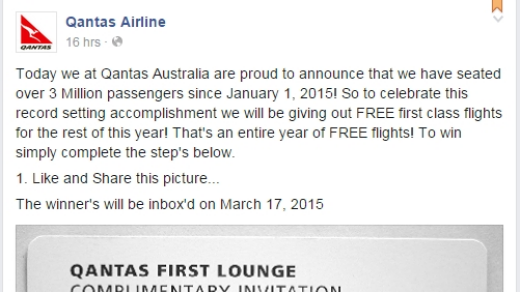 The competition offers free first-class flights for the rest of the year to the winners.