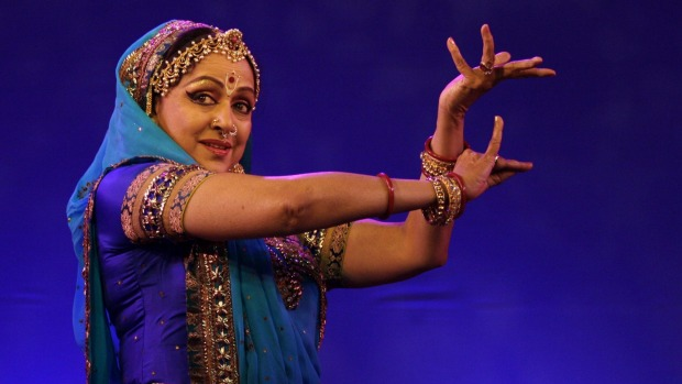 Indian Bollywood actress Hema Malini performs an Indian classical dance.