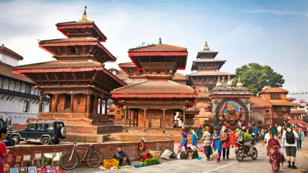 Nepalese people visit the famous Durbar square in Kathmandu, Nepal. Bhaktapur is the third largest city in Kathmandu valley.