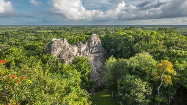 Ruins of Becan temple, Yucatan, southern Mexico.