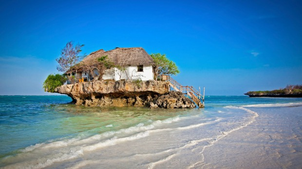 Rock Restaurant over the sea in Zanzibar, Tanzania.