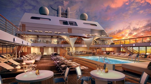 An artist's rendering of the Seabourn Encore, whose maiden voyage is scheduled for January 2017.