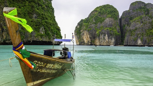 Long tail boat in Phi Phi islands, Thailand.