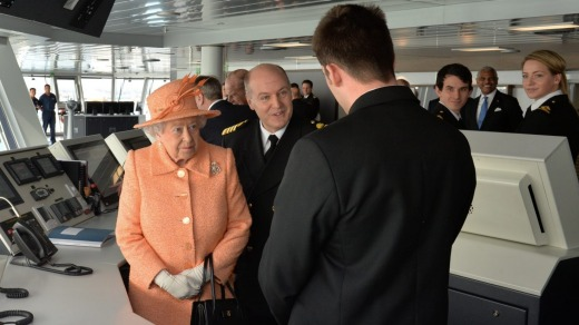 Ruler's measure: The Queen tours P&O's new flagship Britannia at the naming ceremony on March 10.