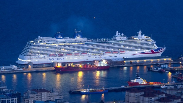 P&O Cruises Britannia arrives in Gibraltar en route to her naming ceremony in Southampton.