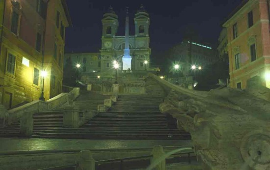 The Spanish Steps and the Church of Trinita dei Monti in Rome - in the dead of night and one of the rare occasions the ...