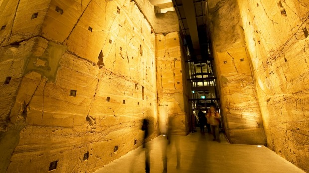 The lowest level of the Museum of Old and New Art. Includes a 240-million-year-old, 12 metre high, sandstone wall, a ...