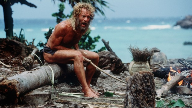 Tom Hanks in <i>Cast Away</i>, filmed on uninhabited Modriki Island in Fiji.