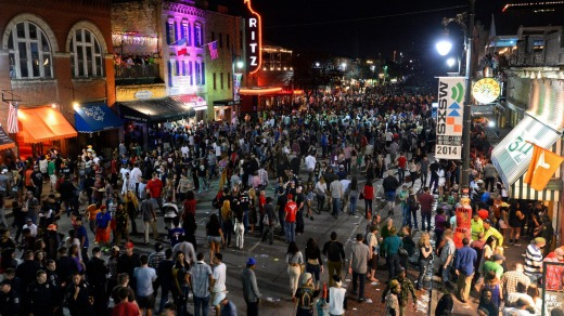 Austin's Sixth Street throngs on on the last day of South by Southwest.