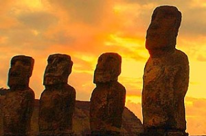 The 15 moai at Ahu Tongariki, Easter Island.