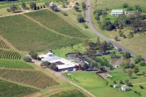 Aerial view from helicopter, Hunter Valley.