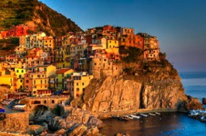 Sunset over the Mediterranean Sea, Manarola, Italy.