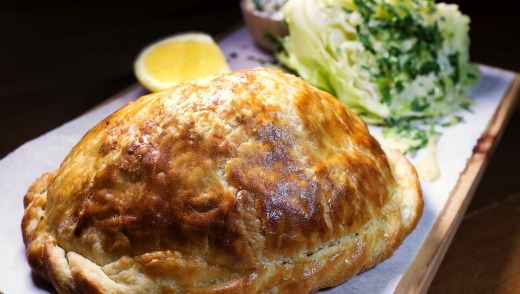 Mulloway fish pasty with sauce tartare and iceberg lettuce at a Peel St cafe.