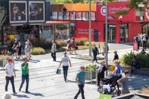 Cashel Street Mall, where shops have popped up built from shipping containers.