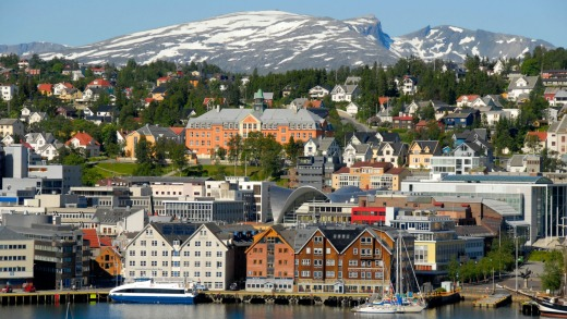 Tromso, in the Arctic Circle, is  surrounded by beautiful fjords and mountains.