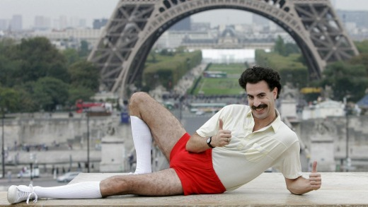 "British actor Sacha Baron Cohen, dressed as ""Borat"" poses for the press near the Eiffel tower in Paris."