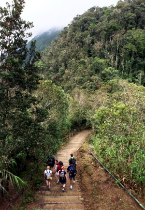 Foreign tourists walk down the trail towards Mount Kinabalu, Southeast Asia's tallest peak, in the east Malaysian state ...
