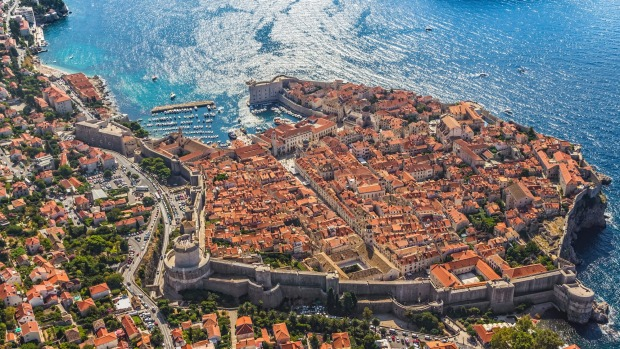 Aerial shot of Dubrovnik's old town.