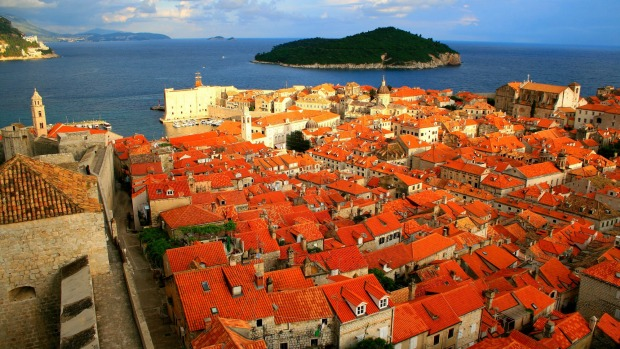 Red rooftops of Dubrovnik in the afternoon sun.