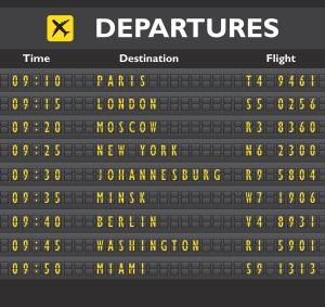 Airport departure arrival destination mechanical analog old style counter board template vector illustration Flying ...