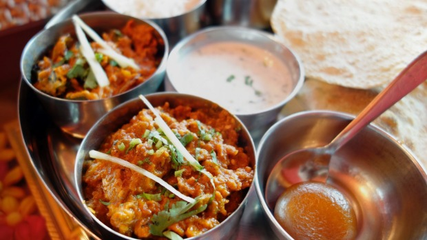 Indian Thali – a set meal of curries, rice, roti and a sweet.