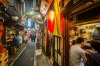 One of the hip izakaya-lined laneways in Shinjuku, Japan.